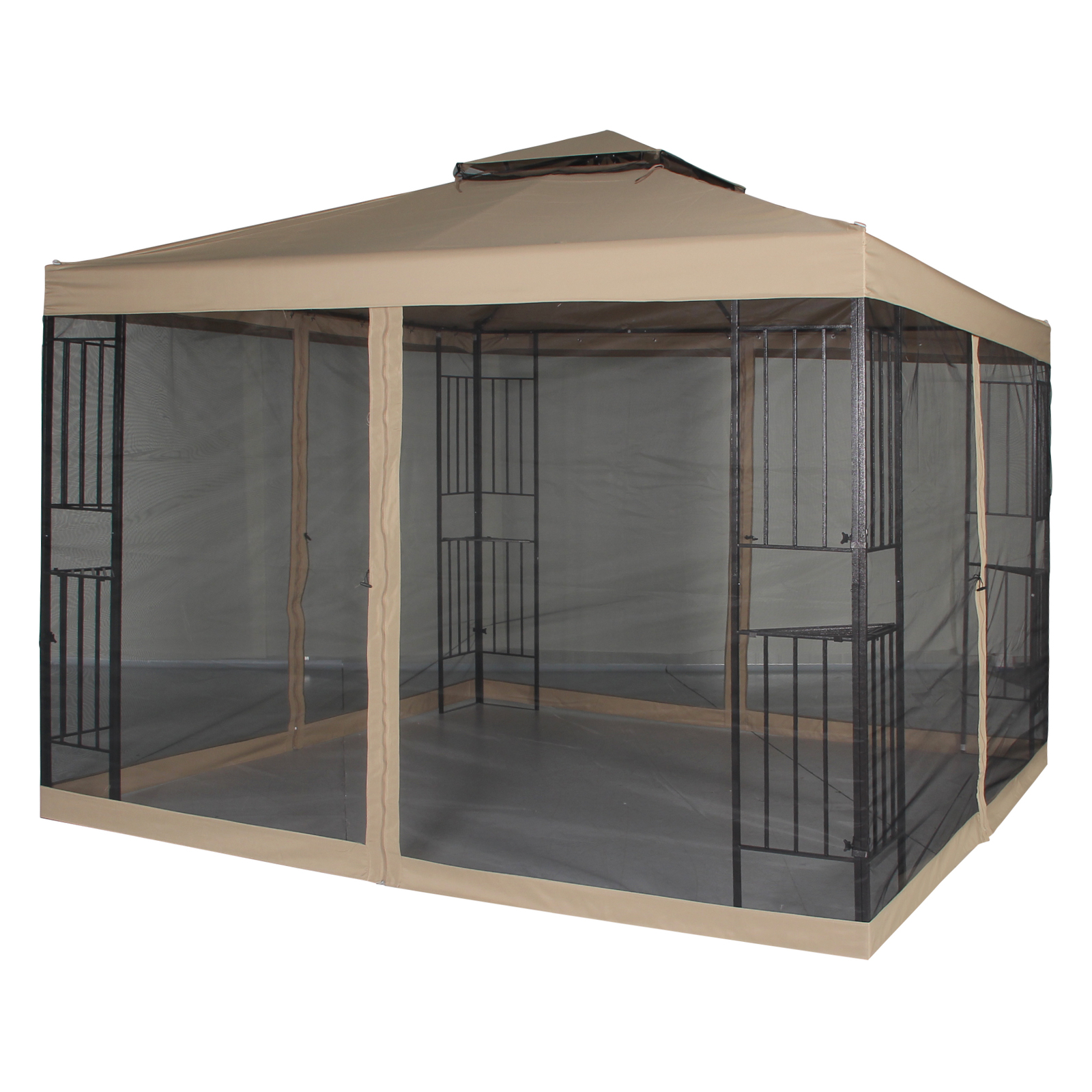 Garden Gazebo Polyester 10' x 10' Patio Backyard Double Roof Vented Netting Sand
