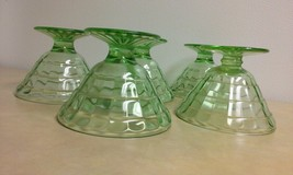 Set of 5 Anchor Hocking Depression Glass Green Optic Panel Pudding/Parfa... - $20.00