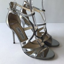 W-1164389 New Jimmy Choo 151 Furrow Mirror Leather Silver Sandals Marked 38 US-8 - $482.80