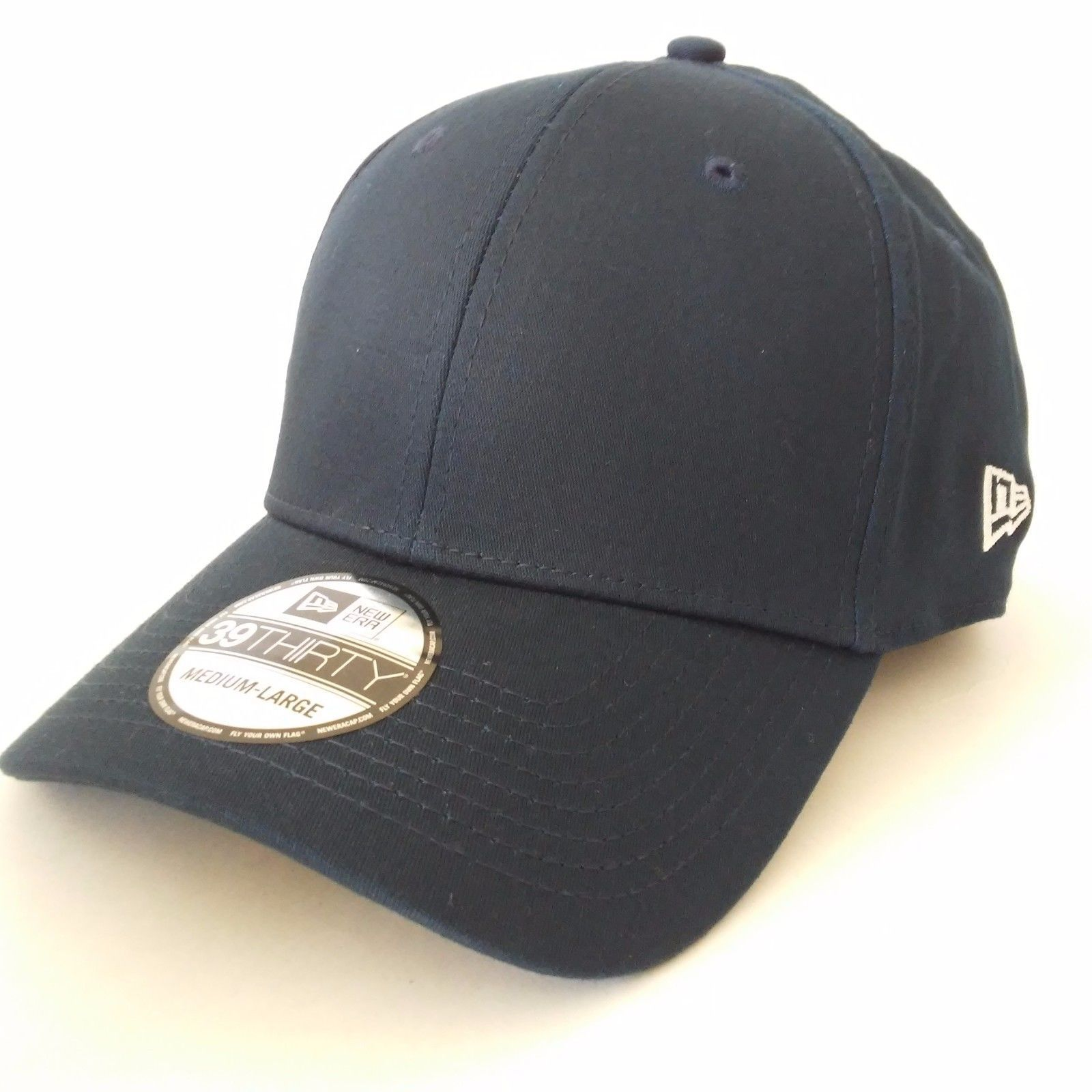 size 40 59509 ecfcf New Era 39Thirty Blank Stretch Cotton fitted Navy blue Hat Cap WITH LOGO