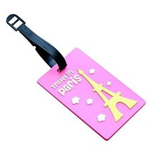 Set of 2 Luggage Tags Bag Tags Silicone Name Tags Travel Tags[Pink Eiffel Tower]