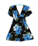 Bikini House Womens Dress Black Blue Green White Floral Hawaiian Size XL... - $29.65