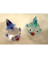 Hand Blown Glass Fish Lampwork Art Glass Set of 2 - £11.06 GBP