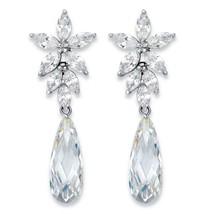 """11.94 TCW Teardrop Cubic Zirconia Silvertone Floral Drop Earrings 1.75"""" - $28.49"""