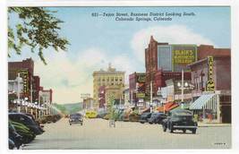 Tejon Street Cars Drug Store Colorado Springs CO linen postcard - $5.94