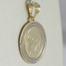 Pendant Medal Oval Yellow Gold White 750 18K Virgo Mary Jane And Jesus, Madonna image 2
