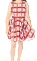 Maison Jules Dusty Rose Plaid Fit & Flare Retro Dress Size Large - $24.99