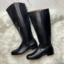 Kenneth Cole Womens 6.5 Black Real Leather Boots Tall Riding Side Zip Low Heel - $42.56