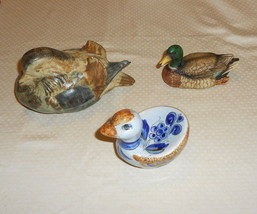 Pottery Ducks 3 mixed media  1 Japan, 1 marked mallard, 1 Mexican - $9.99