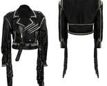 QASTAN Men's New Eye Catching Western Heavy Metal Leather Jacket Fringes QMFJ89 - £169.98 GBP - £204.11 GBP