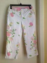 Izod Stretch Cotton Pink Yellow Floral Capri Cropped Pants Petite 4 - $14.50