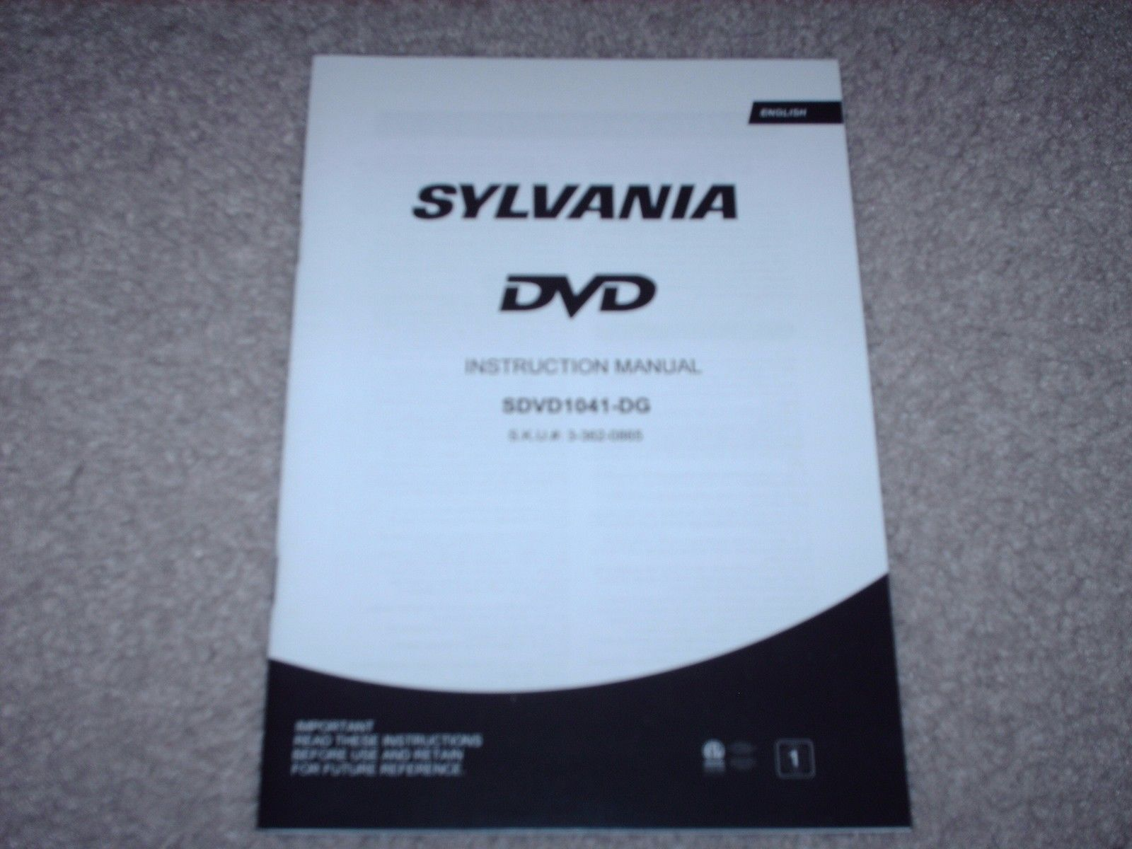 Primary image for Sylvania DVD Player SDVD1041-DG Owner's Manual English French