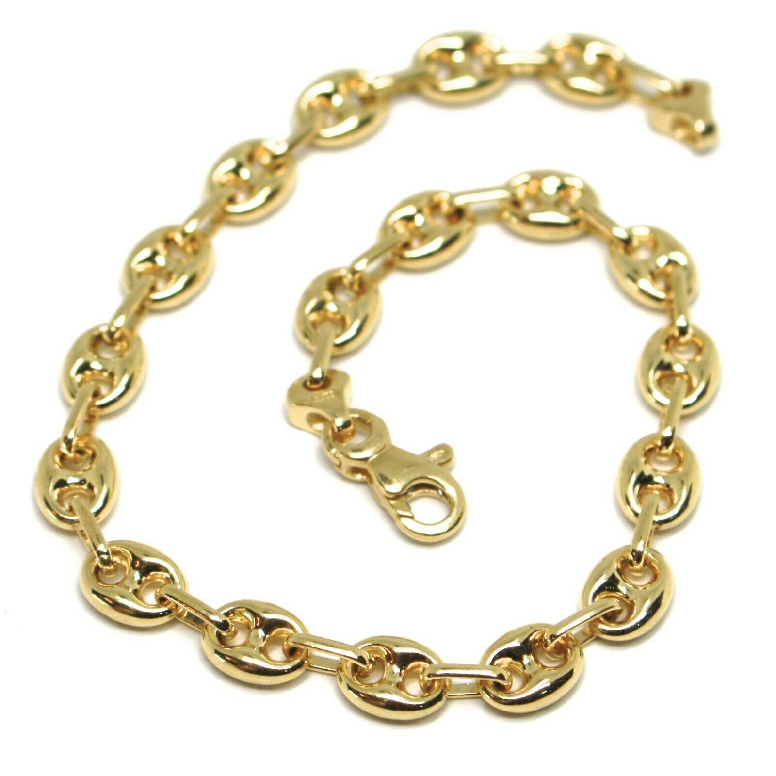 18K YELLOW GOLD SOLID MARINER BRACELET BIG 6 MM, 8.3 INCHES, ANCHOR ROUNDED LINK