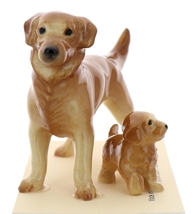 Hagen-Renaker Miniature Ceramic Dog Figurine Golden Retriever Papa and Pup