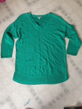 Talbots Green V Neck Cotton Blend Cardigan Sweater Sz Large 3/4 Sleeve - $21.26