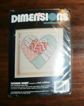 """Textured Heart Dimensions Needlepoint 5"""" x 5"""" Complete - $8.26"""