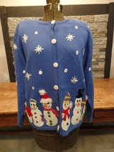 Talbots Christmas Sweater Cardigan Snowman Ugly Christmas Sweater Women's M - $9.99