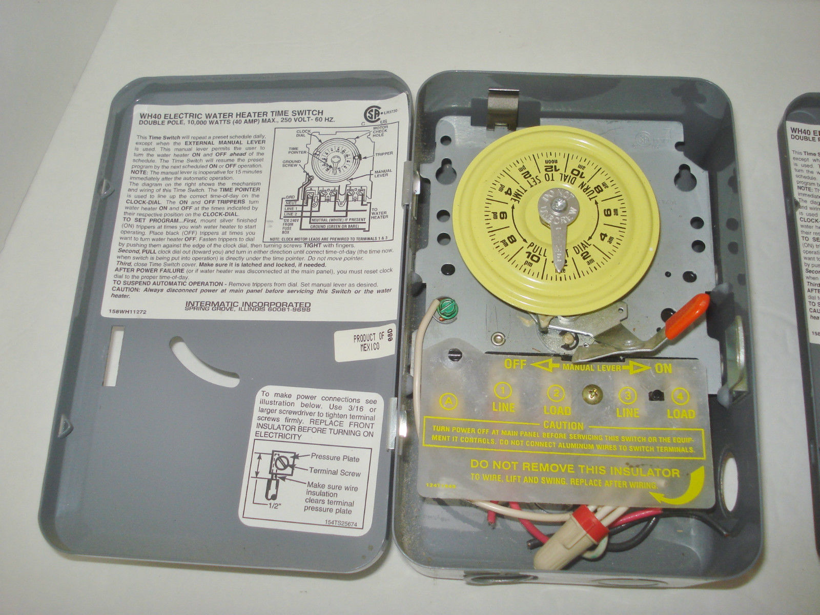 set of 2 intermatic wh40 electric water heater timer ... 2002 chevy express fuse box diagram lil gray box diagram #8
