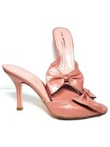 Via Spiga Heels Peep Toe Mule Sandals With Bow Pink Leather Slide On Womens 9 M - $80.98