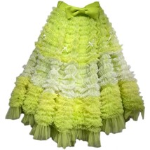 Yellow Midi Layered Tulle Skirt High Waisted Princess Tulle Skirt Holiday Outfit image 5