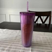 Starbucks 2021 Summer Pink Purple Grid tumbler Cold cup 24oz - $44.55