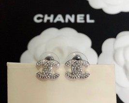 SALE***Authentic Chanel CC Logo Crystal Strass Silver Stud Earrings  image 8