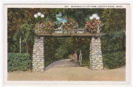 Entrance City Park Coeur D'Alene Idaho 1920s postcard - $5.94