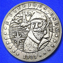 "Lighthouse Keeper ""Hobo Nickel"" on Morgan Dollar Coin ** - $4.79"