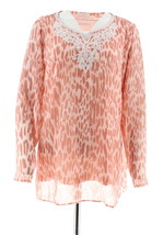 Belle Kim Gravel Embroidered Animal Print Top Tank Shell Pink M NEW A301594 - $37.60