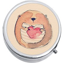 Watercolor Bear Heart Medicine Vitamin Compact Pill Box - $9.78
