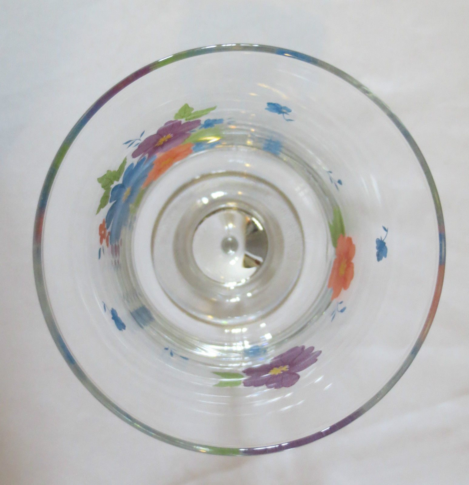 Set 6 Daisy Floral Water Wine Glasses goblets stemware