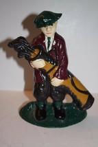 Antique Original Paint Cast Iron Golfer with Clubs Door Stopper - $47.66