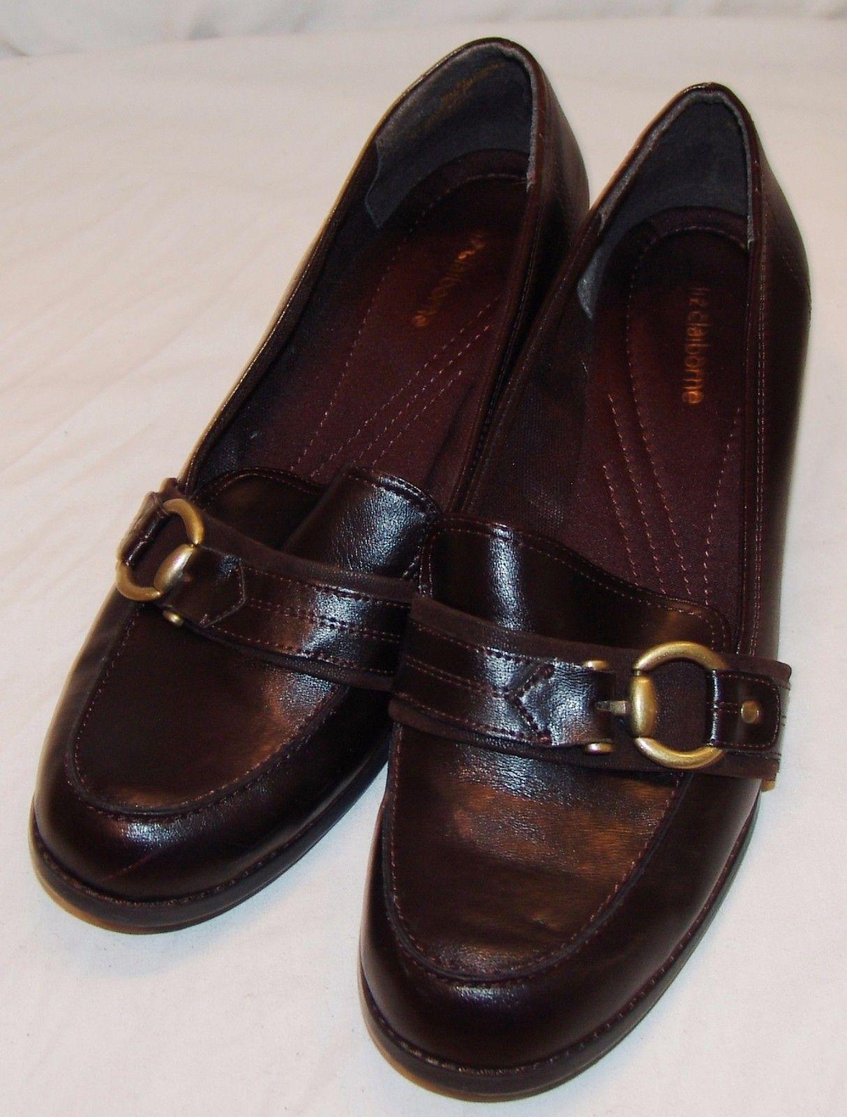 b407eea15e7a10 Liz Claiborne Heels Womens 11M 11 M Kelley Shoes Brown Buckle Slip On