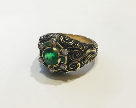 Divine Emerald Diamond Yellow Gold Ring  - $2,900.00