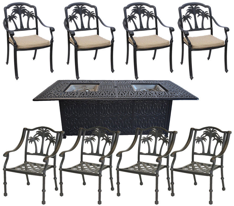 Patio conversation sets with propane fire pit 8 piece garden outdoor furniture