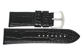24MM BLACK GENUINE LEATHER STITCHED ALLIGATOR GRAIN WATCH BAND STRAP - $17.33