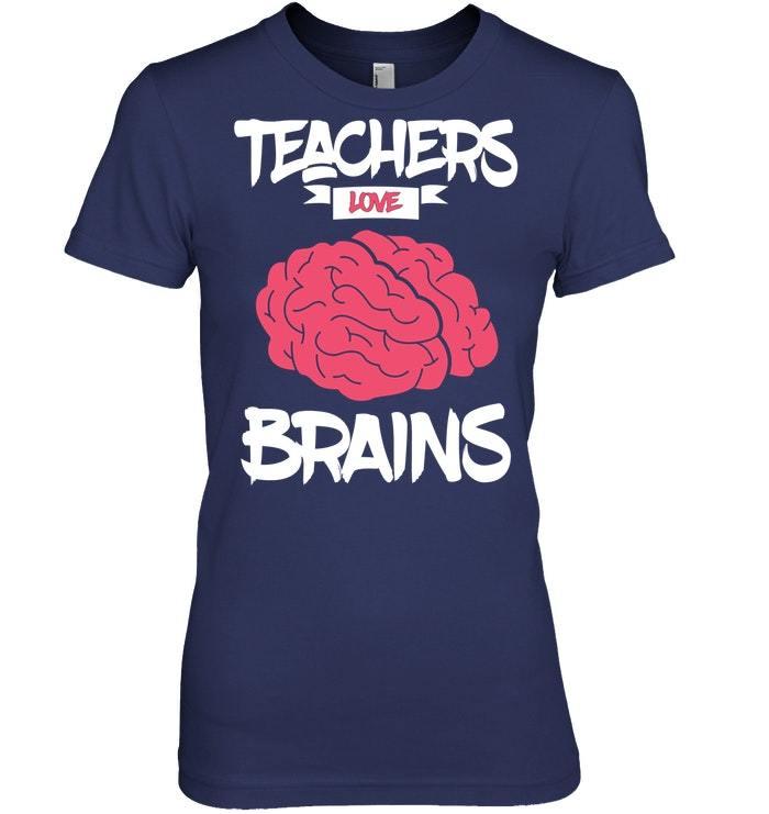 Funny Halloween Zombie Teachers Love Brains Tshirt
