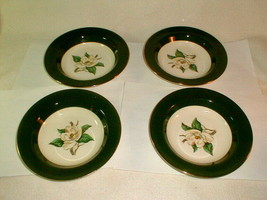 Homer laughlin jade rose soup bowls 4pc unused VG vintage green (LOT2) - $30.00
