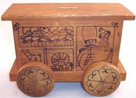 Vintage Toystalgia 1971 Wood Wooden Circus Wagon Bank, Rare! - $21.99