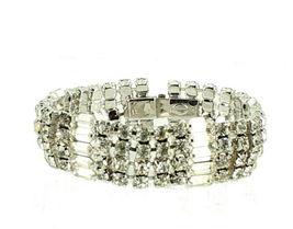 """Vintage Stunning Wiesner Wide Rhinestone Bling Bracelet Best Quality 4 Rows 7"""" image 3"""