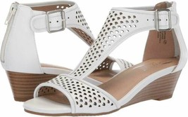Aerosoles Sapphire Sz US 7 M EU 37.5 Women's Leather T-Strap Wedge Sandals White - $56.38