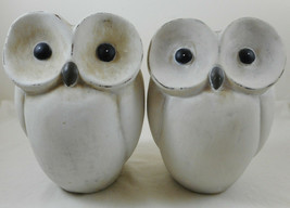 "Pier One Terracotta Owl Set of 2 White Figurines 6"" - $12.86"