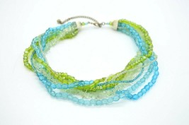 Blue Green Clear Art Glass Bead Multi-Strand Choker Necklace Silver Tone - $24.74