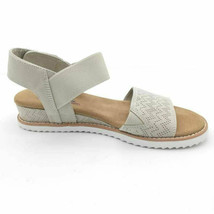 Bobs By Skechers Womens Desert Kiss Slingback Sandals Ivory Wedge 7.5W NEW - $49.49