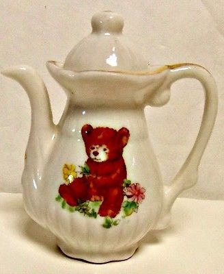 Primary image for Collectible Vintage Miniature China Teddy Bear Tea Set