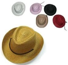 4 KIDS ASST COLOR STRAW COWBOY COWGIRL HAT child headwear childrens hats... - $11.72