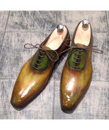 Men's Handmade Two Tone Patina Finish Leather Oxfords Custom Made Shoes ... - $179.99+