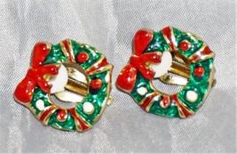 "CLIP ON Gold Tone Enamel, Green, Red Christmas Wreath Clip On Earrings. 1""  - $10.40"