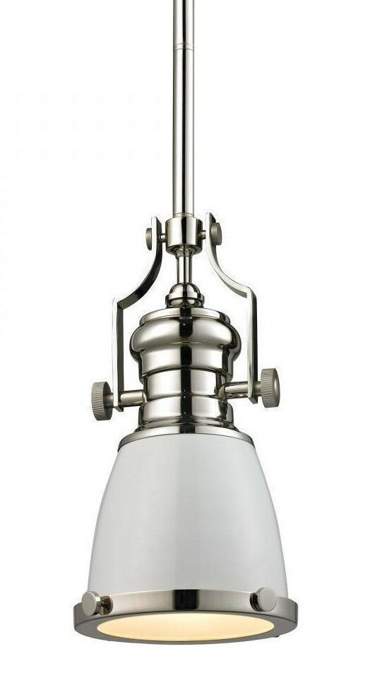 "Primary image for Elk Lighting 66514-1 Chadwick 1 light 8"" pendant in gloss white polished nickel"