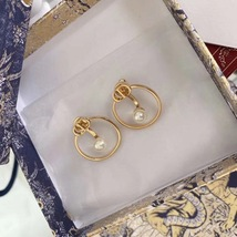 AUTH Christian Dior 2020 GOLD CD LOGO HOOP PEARL EARRINGS